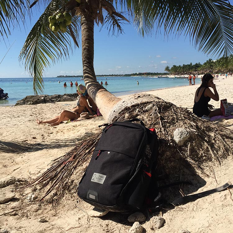 Here is my Two Wheel Gear Pannier Backpack Convertible on Akumal beach in Mexico.