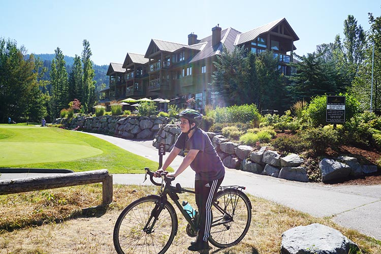 The clubhouse of the Nicklaus North golf course offers a variety of dining options, including a patio with a spectacular view. Whistler Valley Trail