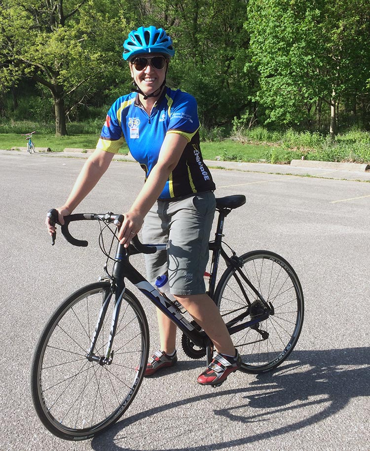 Heather Adams training for the 2014 Ride to Conquer Cancer from Toronto to Niagra