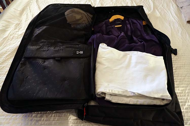 This is the bigger and more versatile two Wheel Gear Classic 2.0 Garment Pannier (reviewed here). This photo was taken while Maggie (Mrs. Average Joe Cyclist) was packing up for work the next day (i.e. the purple blouse is not mine!) Two Wheel Gear Pannier Backpack Convertible Review
