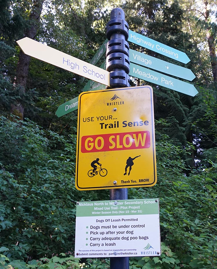 There are handy signposts all along the Whistler Trail, to help you find your way.