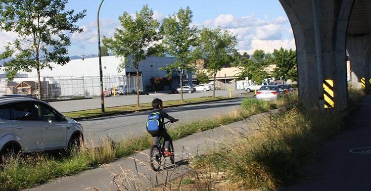 The parts of the Central Valley Greenway that run under the skytrain are so safe that even children can ride bikes safely