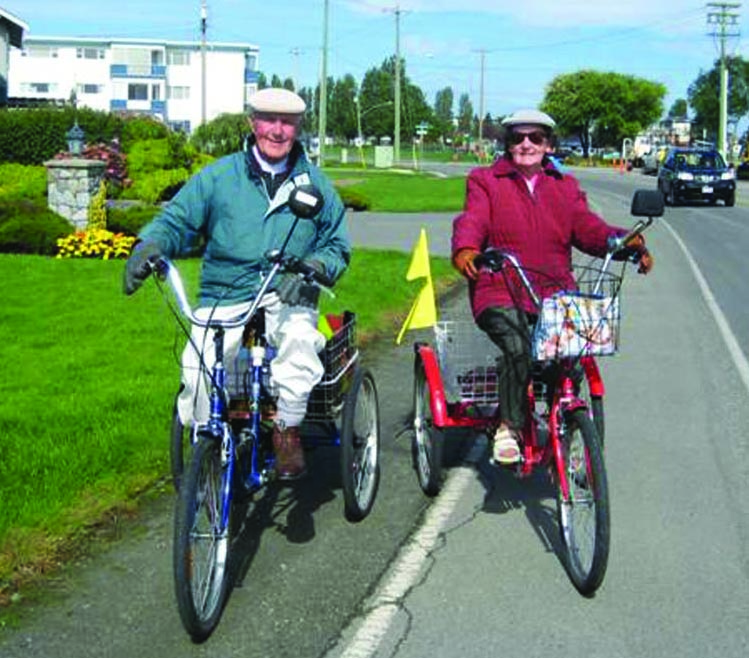 Marg and Dennis, a couple we met on the Lochside Trail near Sidney. They cycle the trail on their tricycles every day!