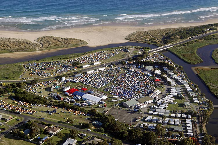 An aerial view of the campsites during the RACV Great Victorian Bike Ride. Whichever way you want to experience it, the RACV Great Victorian Bike Ride can be a great cycling vacation!