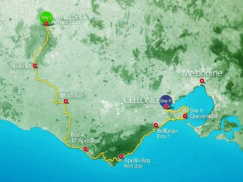 With the world famous Great Ocean Road and the awe-inspiring Grampians as a backdrop, the 2016 RACV Great Victorian Bike Ride promises to be an extraordinary cycling experience for those seeking adventure. This map shows the route.