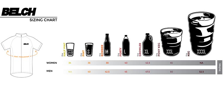 The Belch Gear Jersey Sizing Chart reminds us that BELCH Gear places a high priority on the value of fine beer
