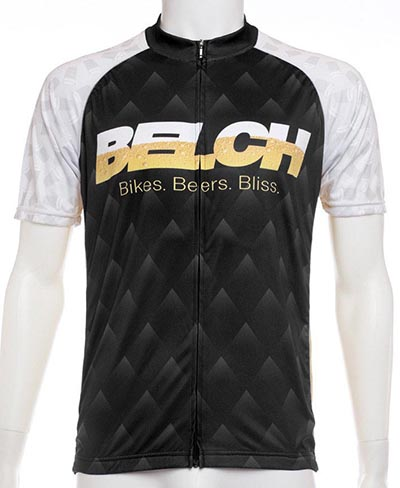 "Here's a more traditional looking BELCH Gear cycling jersey - although the ""Bikes Beer Bliss"" logo is a bit of a giveaway that this jersey is for those more focused on the after-party than the podium!"