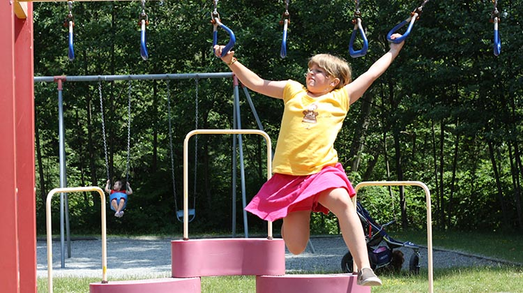Most parks have dedicated kiddy parks. Don't underestimate how good these can be for fun and exercise