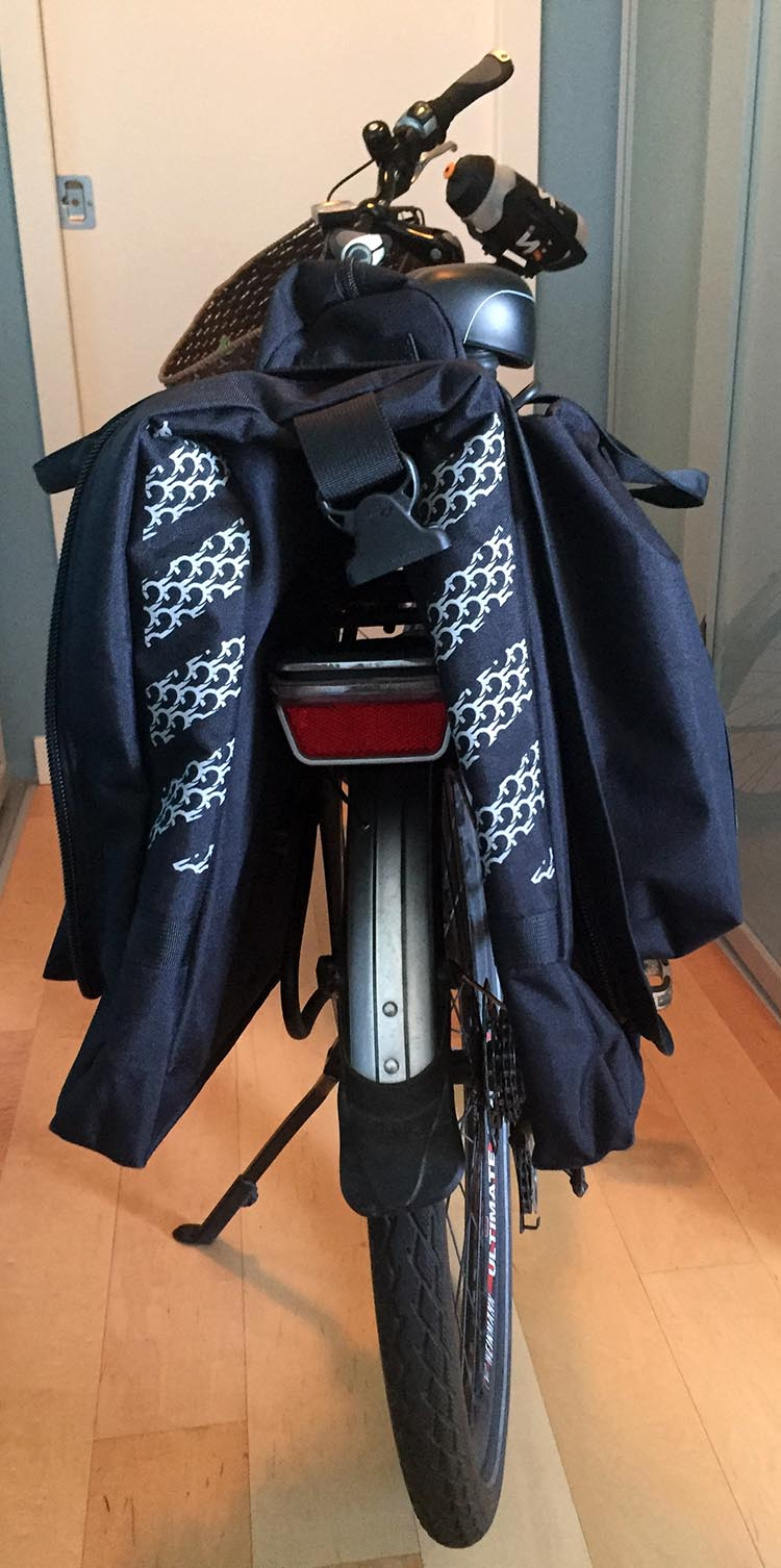 My Two Wheel Gear Classic 2.0 Garment Pannier from behind, showing reflective detail.