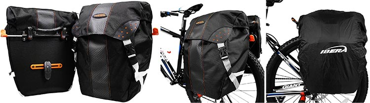 7 of the Best Waterproof Bike Panniers. The Ibera Pakrak Panniers ship as a set of two high-capacity panniers, with rain covers included. The picture on the far right shows the rain cover
