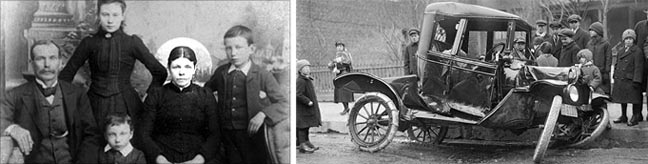 "Bridget Driscoll on the left with her family, and on the right, the car with which Arthur Edsall killed her in 1896, making Driscoll the first person to be killed by a motorist. (Photo credit: <a href=""http://allaksogolies.gr/makavries-kai-thanasimes-prwties/"" target=""_blank"">Allaksogolies</a>)"