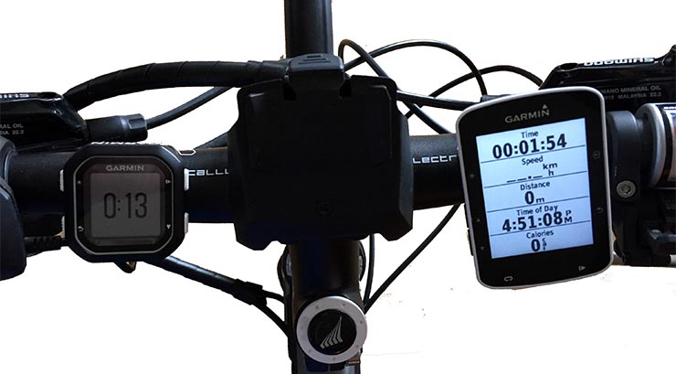 Here's the Garmin Edge 520 on my handle bars (on the right). The Garmin Edge 520 is small, and has the best hand-feel I have experienced yet in a Garmin Edge, feeling smooth, slim and light. Garmin Edge 520 review