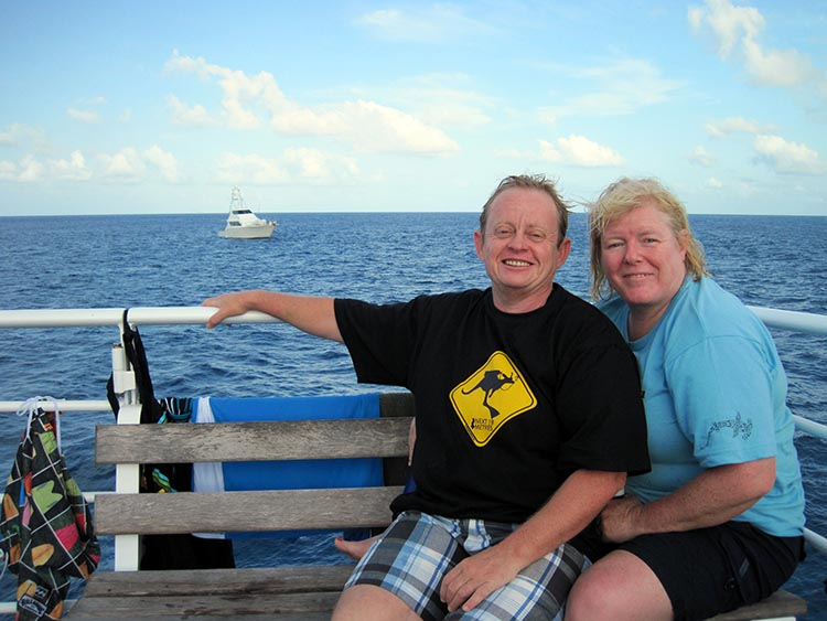 Hi! We're Joe and Maggie, aka Average Joe Cyclist and Mrs. Average Joe Cyclist. Thanks so much for stopping by our cycling blog! We learned to scuba dive on the Great Barrier Reef to celebrate my 50th birthday - we would NEVER have been fit enough to dive with sharks and 20-year-olds, if we had not spent so much time cycling!