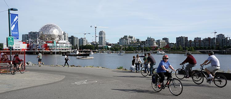 The Seaside bike route does a spectacular loop around False Creek. cycling vacation in Vancouver