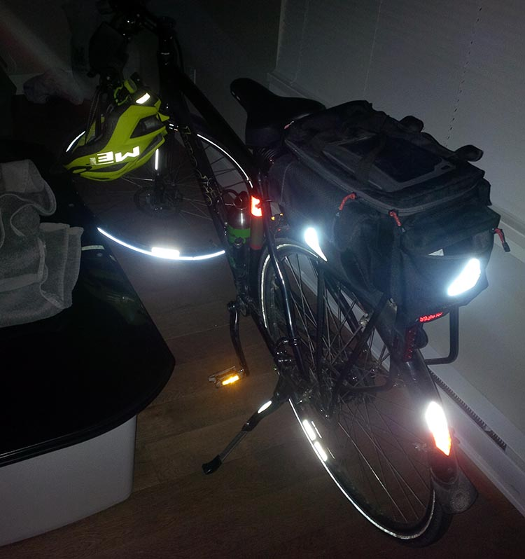 There are a lot of great places on a bike for reflectors, including tires, fenders, and accessories