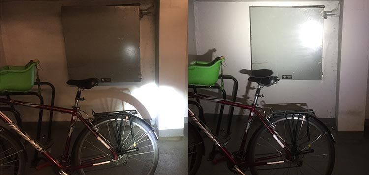 The light on the left is caused by the big light on my Haibike, which is powered by the same powerful battery that powers the bike. It's a great light which I thought was adequate for night time cycling. But look at how much less bright it is than the Piko 4 light on the right! It was like someone swtiched the room lights on! The Lupine Piko 4 bike helmet light