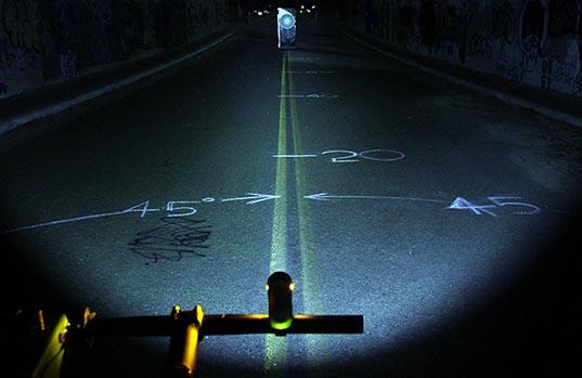 Light beam of the Light and Motion Urban 350 bike light