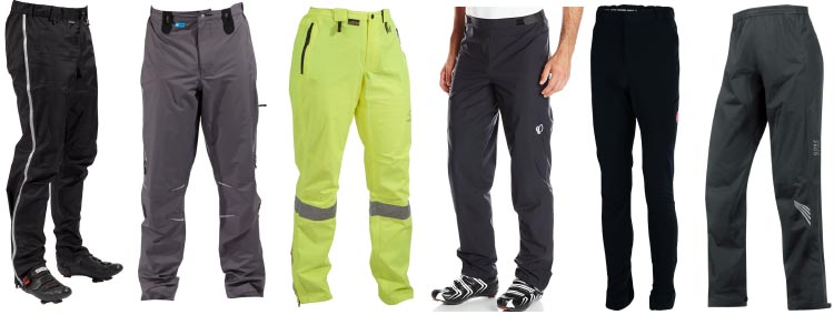 7 of the Best Waterproof Cycling Pants. Left to right (not order of ranking, just order of picture): Showers Pass Transit; Showers Pass Refuge; Showers Pass Club Visible Pants Womens; Pearl Izumi - Ride Men's Select Barrier WxB Pants; Castelli Meccanico Rain Pants; Gore Bike Wear Element Gore-Tex Active Pants. 7 of the Best Waterproof Cycling Pants - How to Choose the Best Cycling Pants