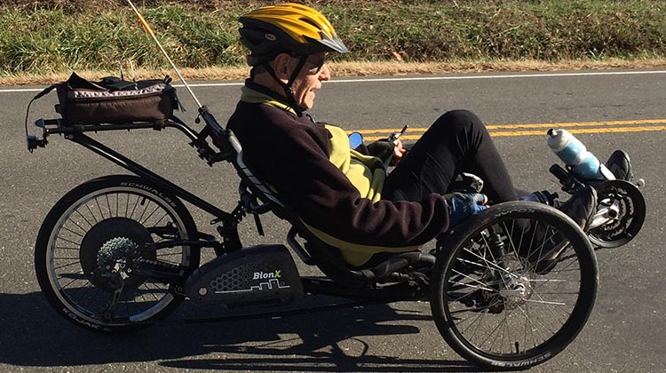 You can even get a recumbent tricycle with an electric assist - this bike is being ridden by 80 year old Dr. Len, who has several health problems, but is getting healthier and having fun on a bike
