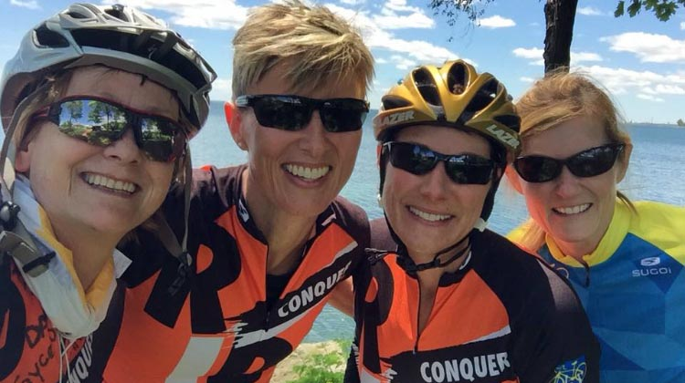 Karen Ingram with fellow cyclists at the Ride to Conquer Cancer