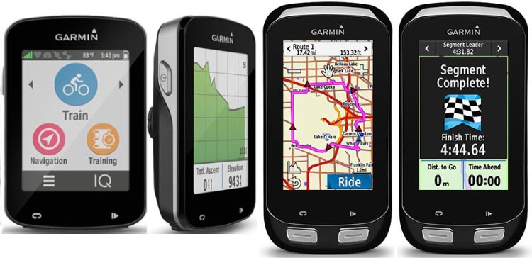 There are 7 key differences between the Garmin Edge 1000 vs 820. This picture shows two views of the Edge 820 on the left, and two views of the Edge 1000 on the right. Both have beautiful color touch screens and tons of shared features, including top-of-class training and navigation features. Garmin Edge 1000 vs 820