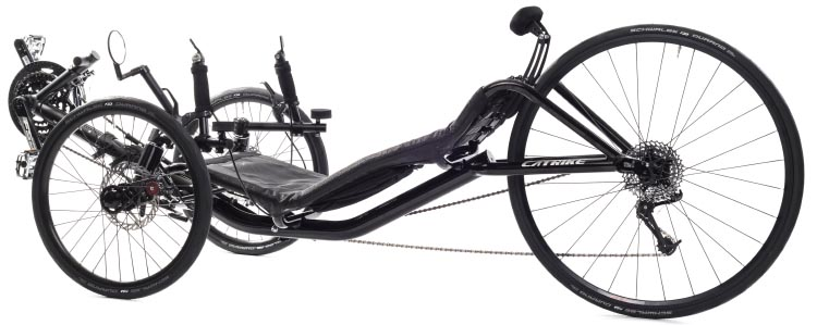 In this photo of the Catrike 700 Performance Recumbent Trike, you can see the mirror above one the left front wheel. Catrike 700 Performance Recumbent Trike review