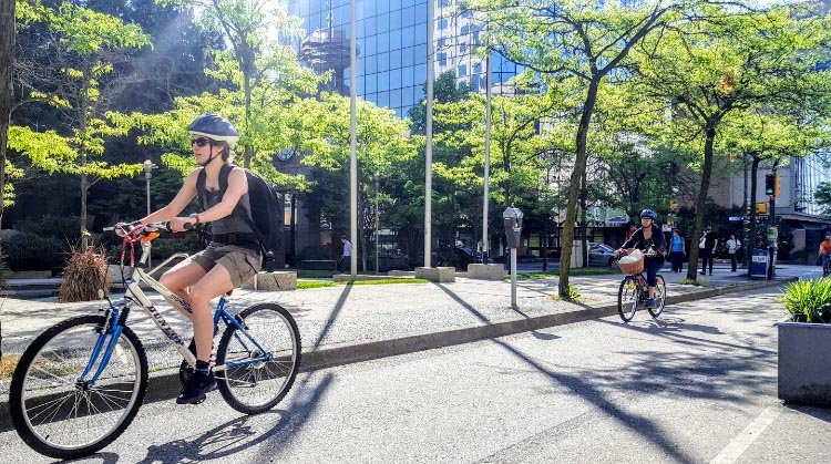 Charles Gauthier, President and CEO of the Downtown Vancouver Business Improvement Association (DVBIA), believes that the addition of cycle routes is also contributing to a vibrant downtown economy