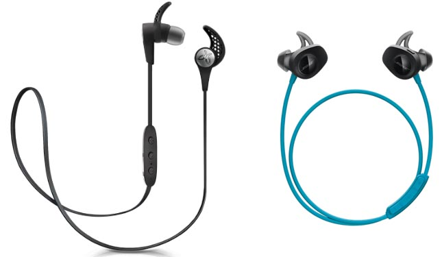 bose sport earphones. on the left are jaybirds x3 (also available in several other colors): bose sport earphones e