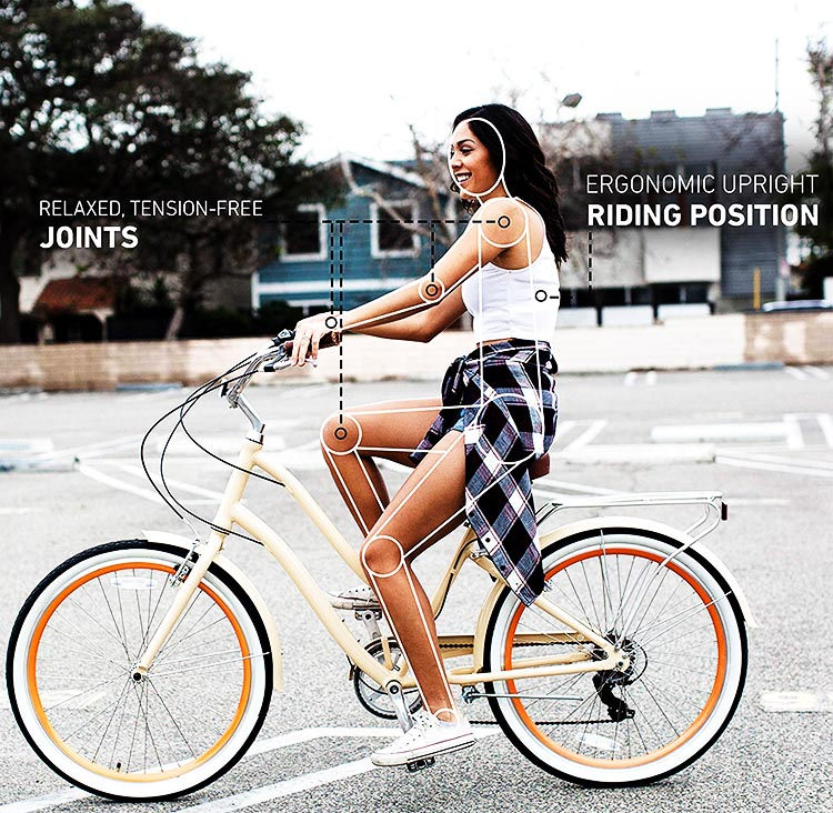 7 Great Bikes you can buy on Amazon. This picture illustrates the relaxed riding position you can enjoy on the sixthreezero EVRYjourney bike