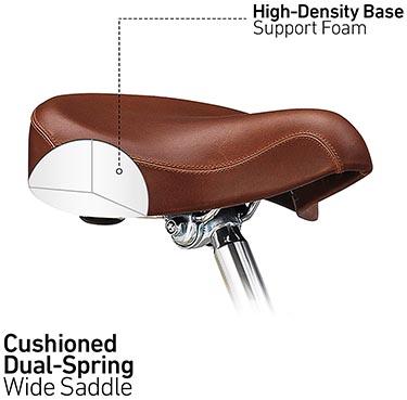 The saddle of the sixthreezero EVRYjourney bike is designed for comfort
