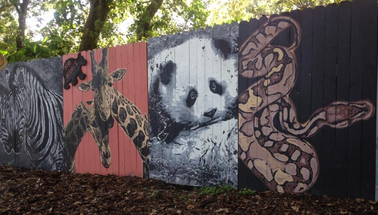 Amazing wall murals on the Cross Seminole Trail, painted by Longwood artist, Jeff Sonksen