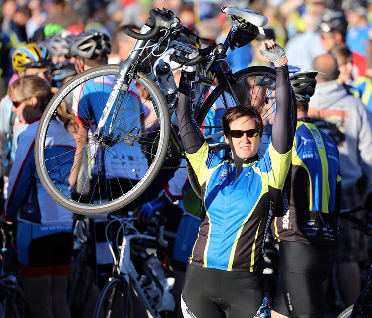 "Jocelyn Dickie: ""Since 2008, the Ride to Conquer Cancer series has raised over $364 million for cancer research across the country. However, there is still work to be done in the fight to conquer this thing! It's not too late to join!"""