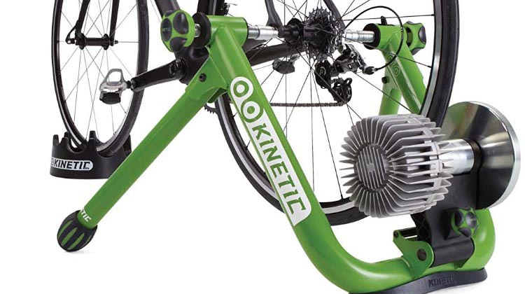 5 of the best indoor bike trainers. The rear wheel of your bike is suspended in an A-frame and the tire rests on a roller in a resistance unit. This is the top-rated Kinetic Road Machine 2.0 Fluid Trainer