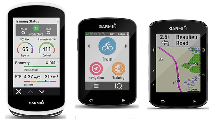 Garmin Edge 1030 vs 820 vs 520 Plus GPS bike computers - which one is right for you? In the graphic above, left to right, are the Garmin Edge 1030, Edge 820, and Edge 520 Plus