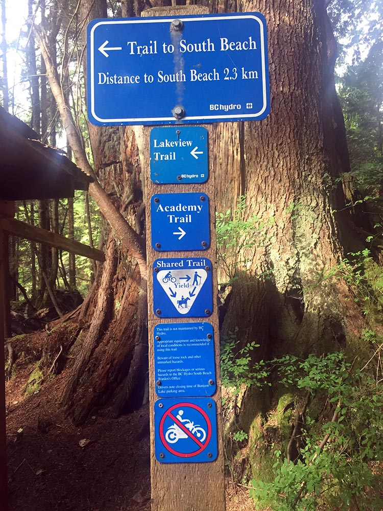 Cycling near Buntzen Lake, British Columbia, Canada. You will find the entrance to the Academy Trail just as you come into Buntzen Lake Park, on the right of Sunnyside Road