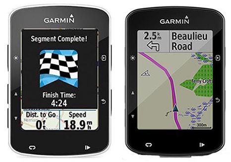Garmin Edge 520 vs 520 Plus. The Garmin Edge 520 is on the left; the Edge 520 Plus is on the right. In reality they are identical ... these two just happen to have different screens open. And the 520 Plus is showing off its navigation abilities, which the 520 does not have