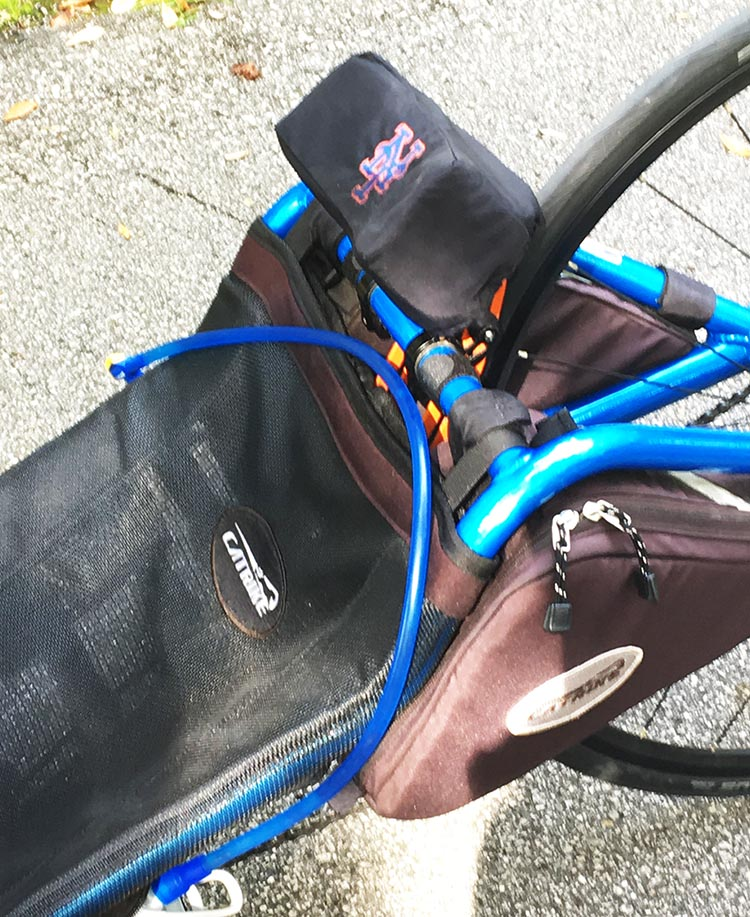7 Benefits of Recumbent Trikes. Here is one of my bike bags, which fits under my head rest
