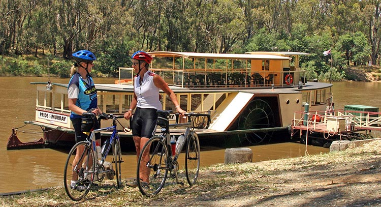 Join Australia's Biggest Bike Riding Festival: The Great Victorian Bike Ride. The Great Victorian Bike Ride offers cyclists the chance to enjoy exploring Australia on a bike. This photo shows The Pride of the Murray paddlesteamer on the Murray River. Photo credit: Bicycle Network