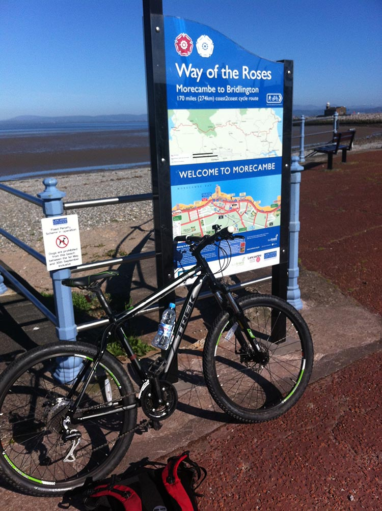 I took my first ghost rider picture of my empty bike beneath the post in Morecambe