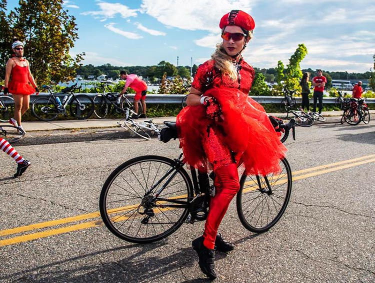It's hard to miss the cyclists in Cycle for the Cause, especially those wearing the theme color! Photograph by Inspired Storytellers. Cycle for the Cause 2018 and 2019