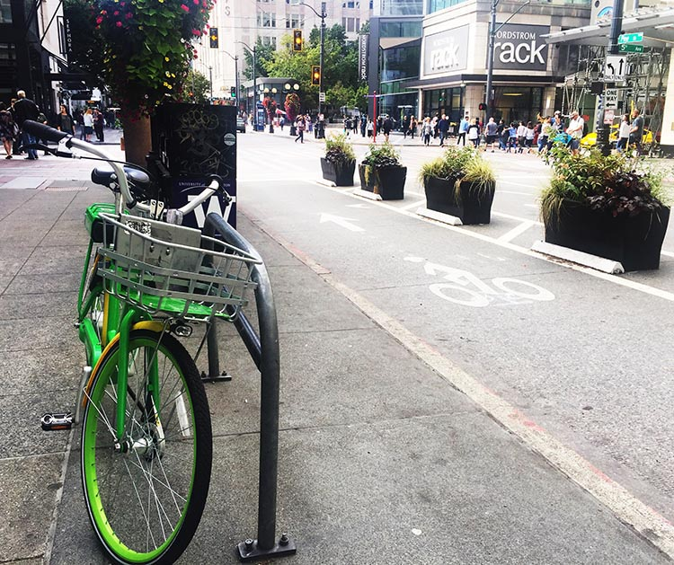 Lime Bikes and Scooters for Shared Transport Options. Here's a Lime bike in downtown Seattle