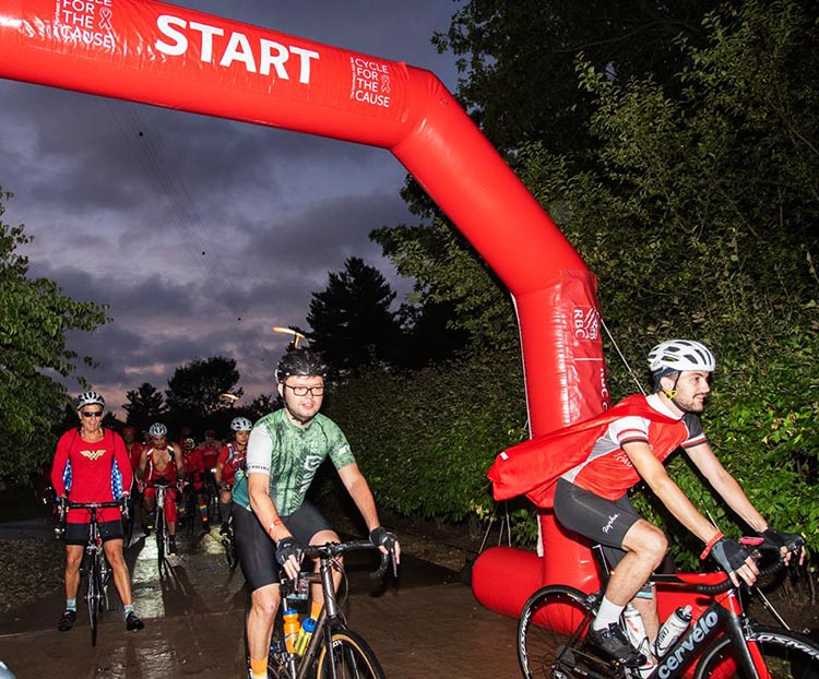 Red is the theme color of Cycle for the Cause, and that makes for a very colorful start! Photograph by Inspired Storytellers. Cycle for the Cause 2018 and 2019