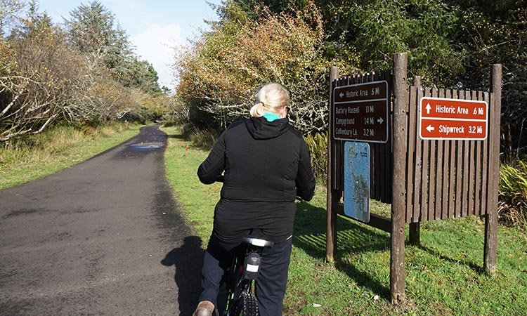 The multi-use trails at Fort Stevens State park are well sign posted