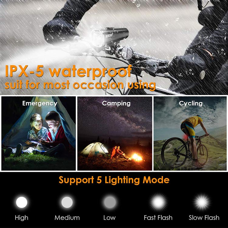 Vangogo Bike Light Set Review. A waterproof rating of IPX-5 means this bike light can withstand jets of water