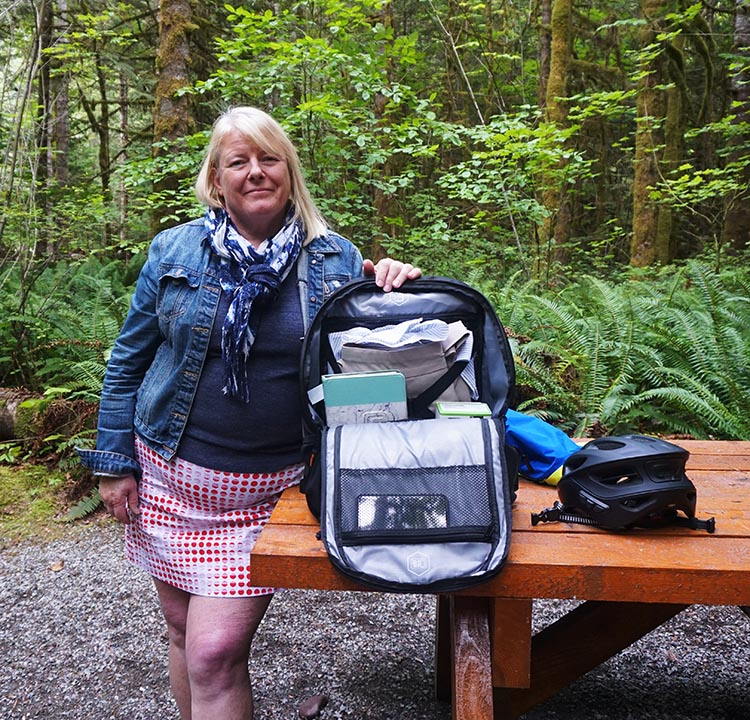 Here's Maggie showing off how she organizes her gear inside the Targus Work + Play Cycling Backpack