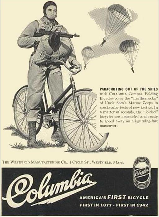 American Paratroopers with folding bikes, featured here in an ad for Columbia Bikes