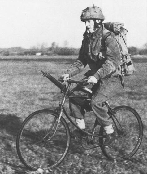A British soldier on a BSA folding bike