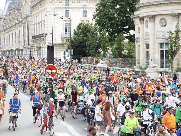 Cycling and the Post-Covid Transformation. A joyous mass demonstration in Paris, France. Photo credit Salah Youbi