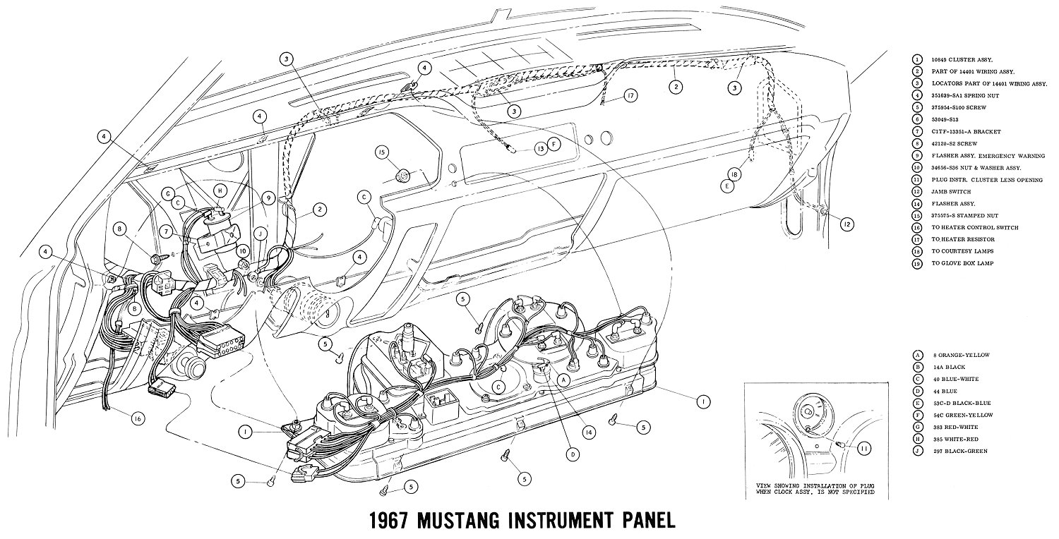 1967 mustang wiring and vacuum diagrams average joe restoration 1966 mustang fuse location for sm67instr 5 1967 mustang instrument panel