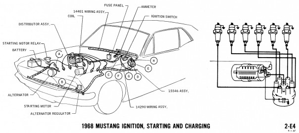 1968 mustang wiring diagram ignition starting charging 2 604x270 1965 mustang coil wiring